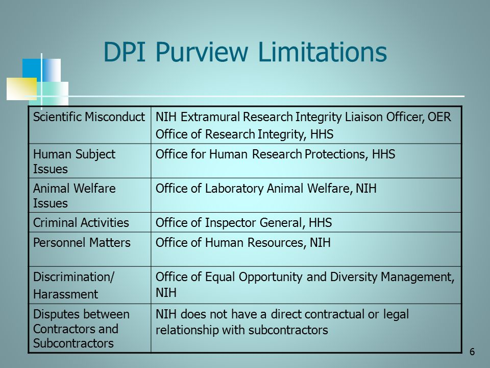 DPI Purview Limitations