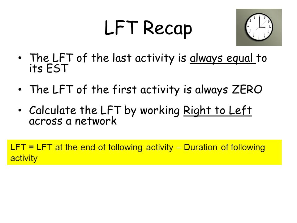 LFT Recap The LFT of the last activity is always equal to its EST