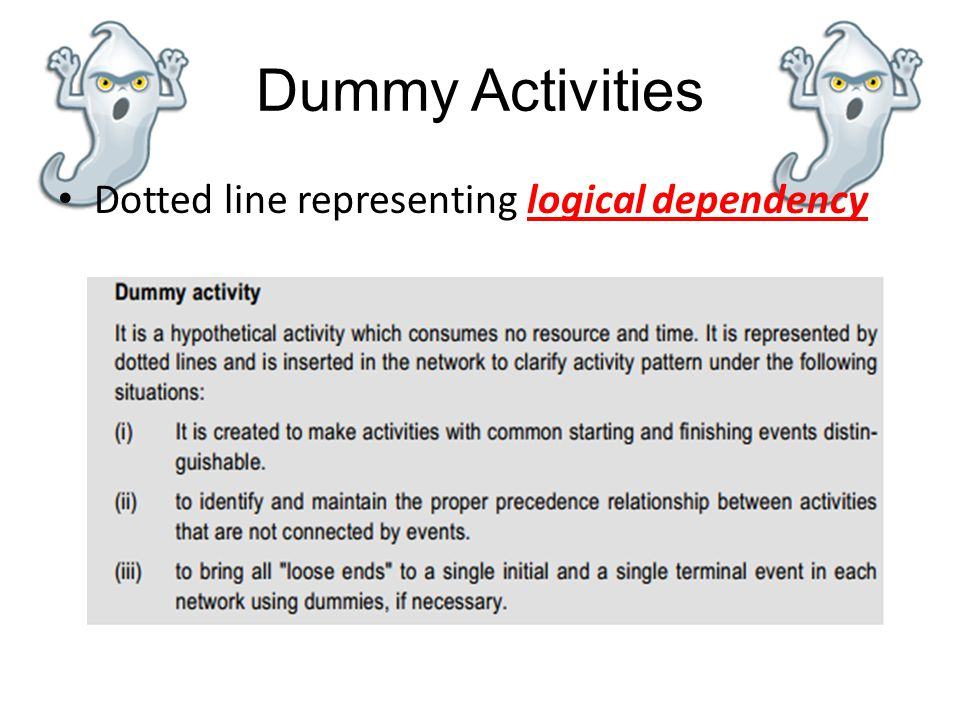 Dummy Activities Dotted line representing logical dependency