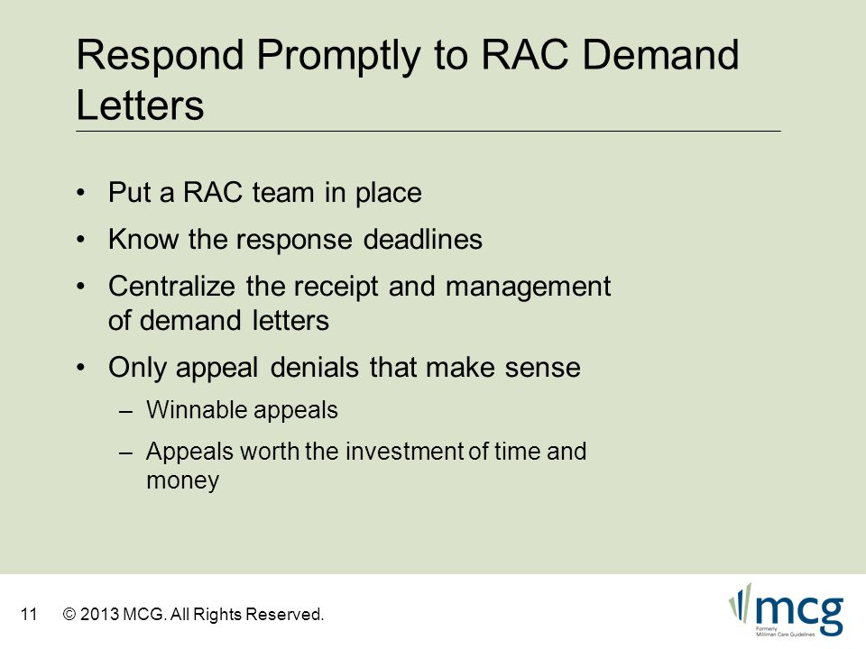 Respond Promptly to RAC Demand Letters