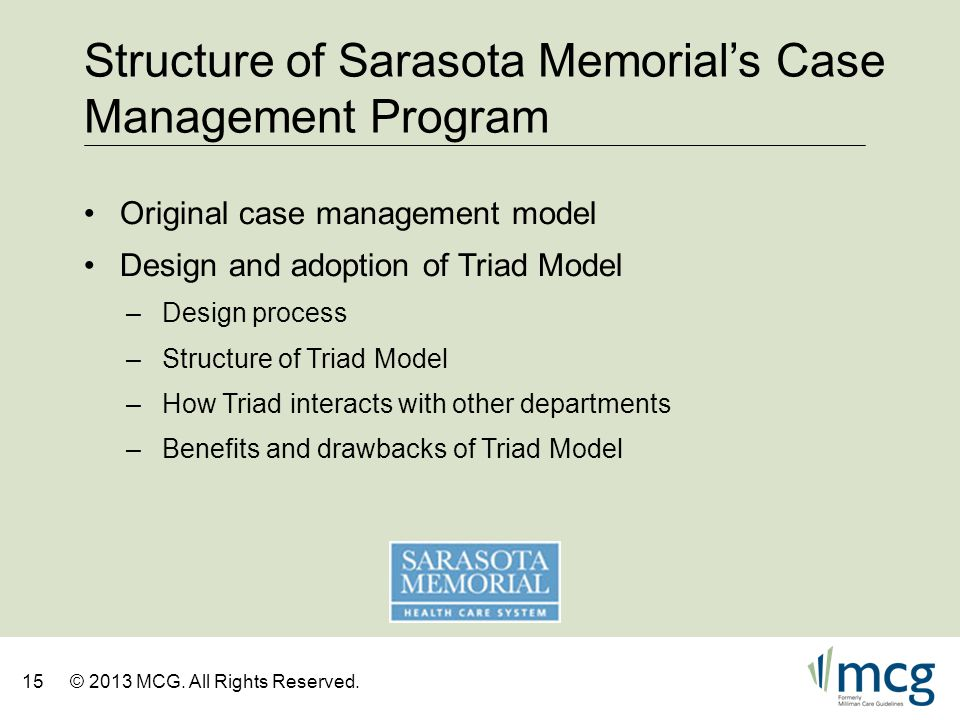 Structure of Sarasota Memorial's Case Management Program