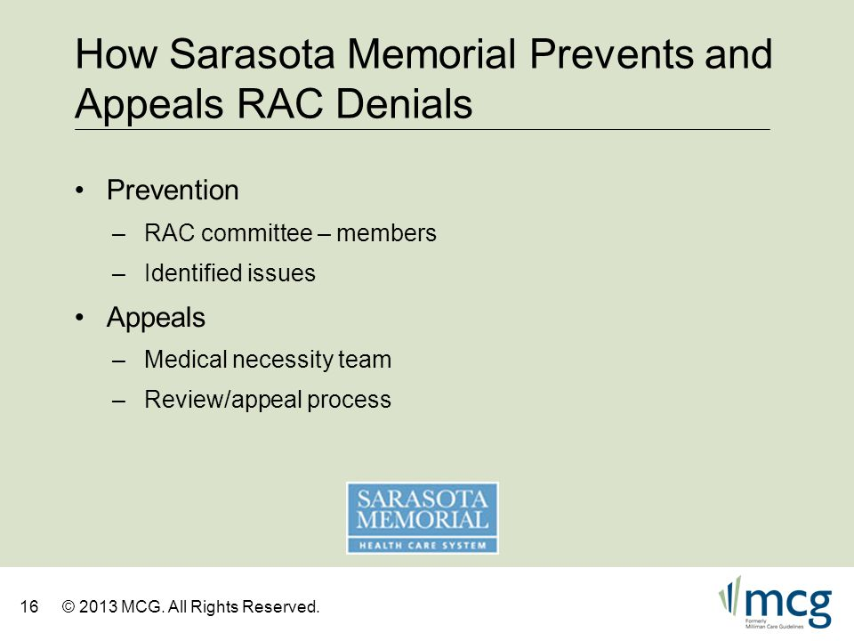 How Sarasota Memorial Prevents and Appeals RAC Denials