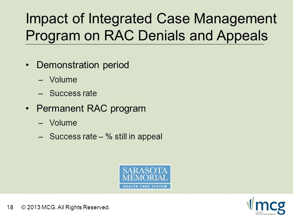 Impact of Integrated Case Management Program on RAC Denials and Appeals