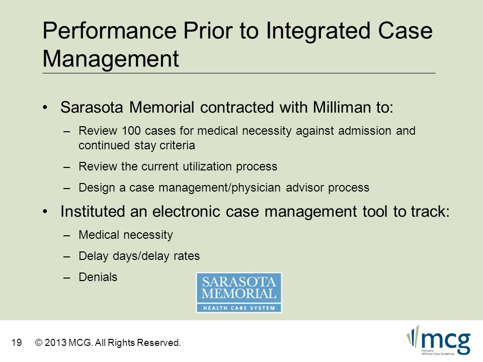 Performance Prior to Integrated Case Management