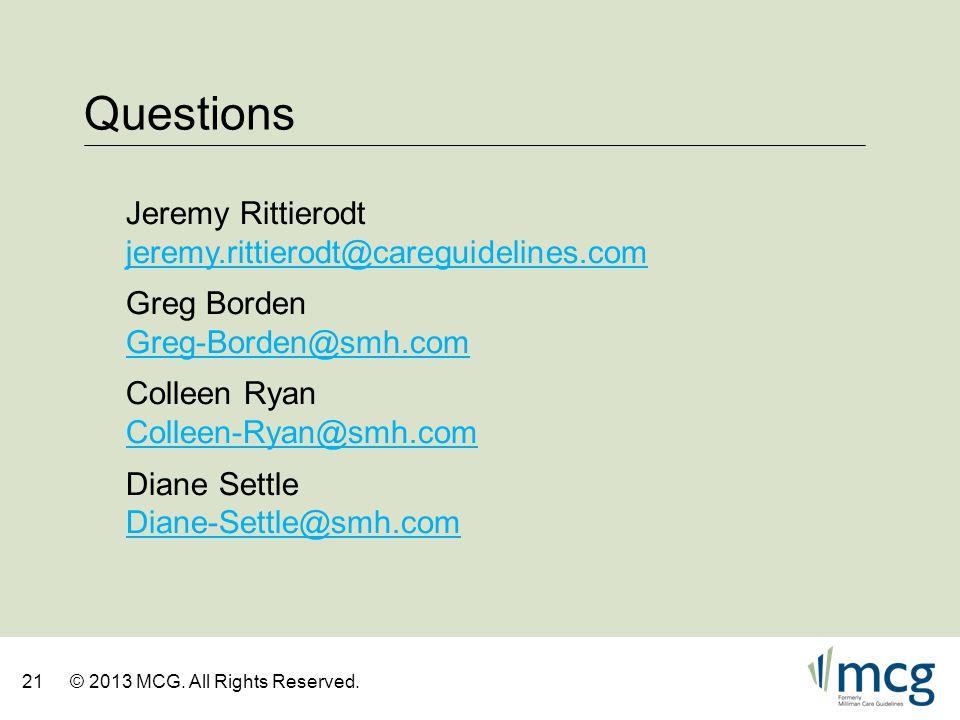 Questions Jeremy Rittierodt jeremy.rittierodt@careguidelines.com