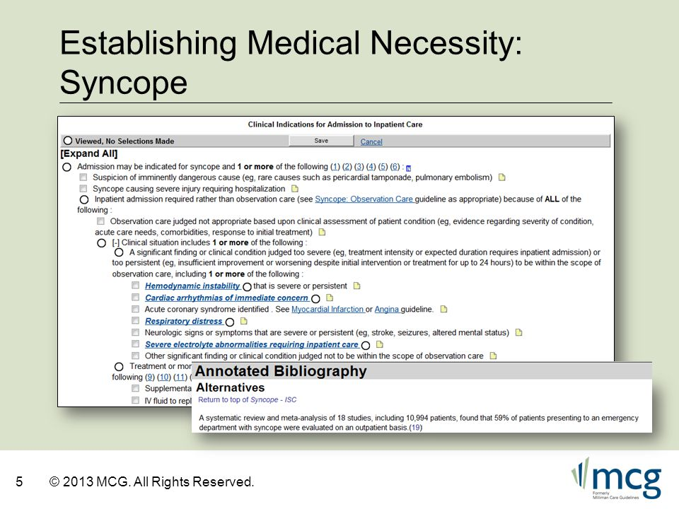 Establishing Medical Necessity: Syncope