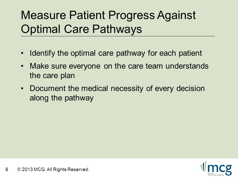 Measure Patient Progress Against Optimal Care Pathways