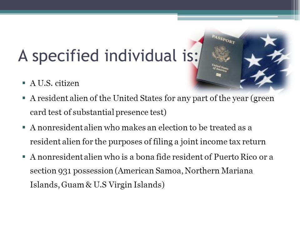 A specified individual is: