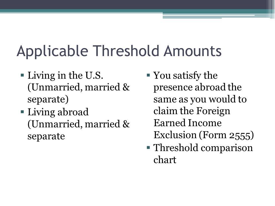 Applicable Threshold Amounts