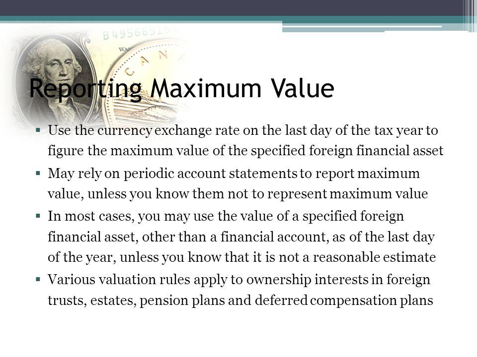 Reporting Maximum Value
