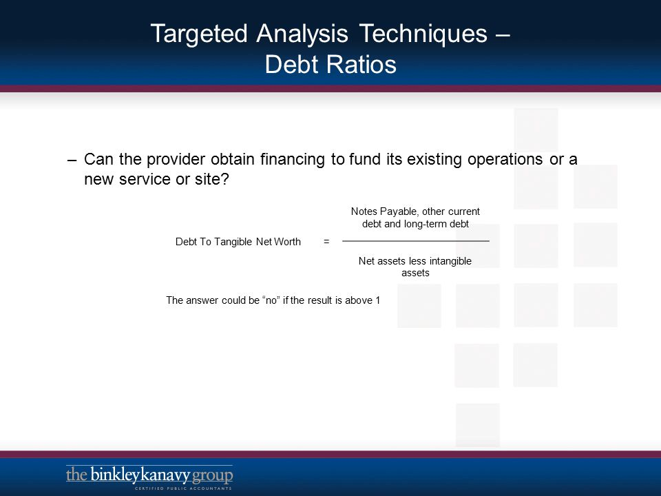 Targeted Analysis Techniques – Debt Ratios