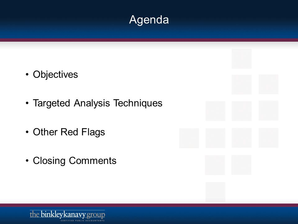 Agenda Objectives Targeted Analysis Techniques Other Red Flags