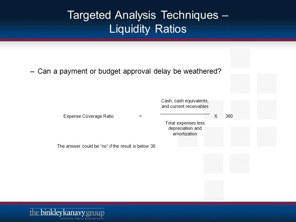 Targeted Analysis Techniques – Liquidity Ratios