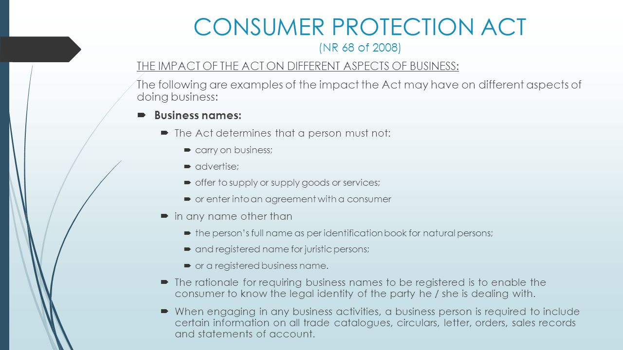 CONSUMER PROTECTION ACT (NR 68 of 2008)