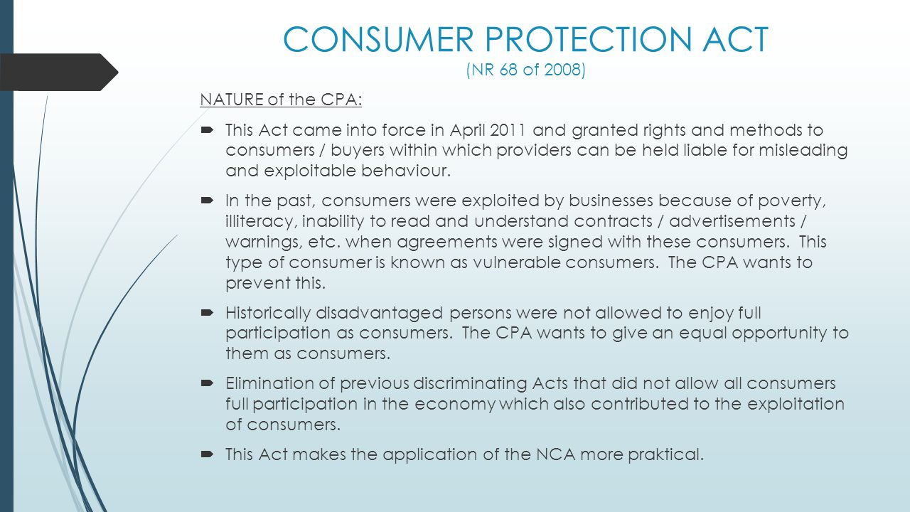 consumer protection act case study Case studies from which legal - read how we've helped consumers with helpful legal advice on high street shopping issues.
