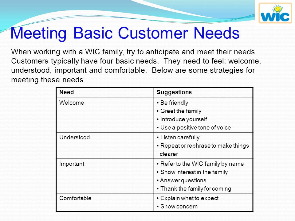 Meeting Basic Customer Needs