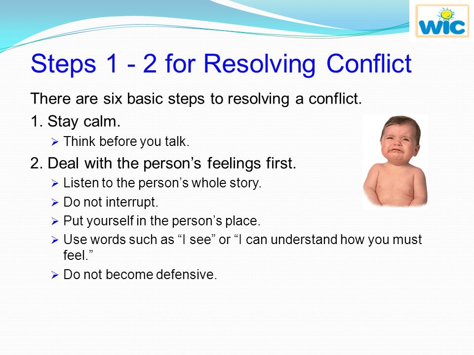 Steps 1 - 2 for Resolving Conflict