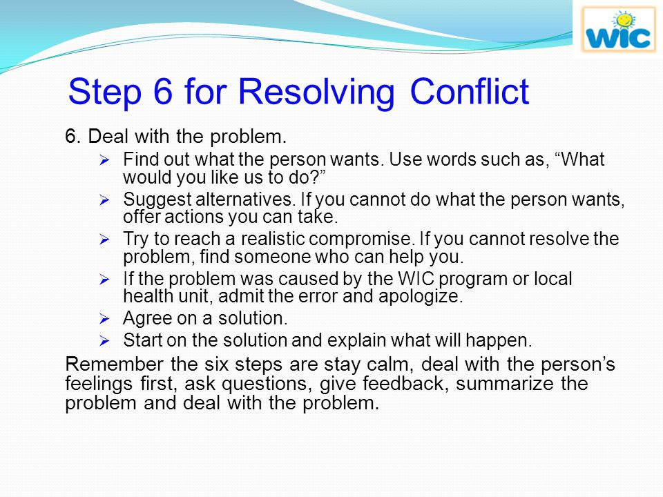 Step 6 for Resolving Conflict