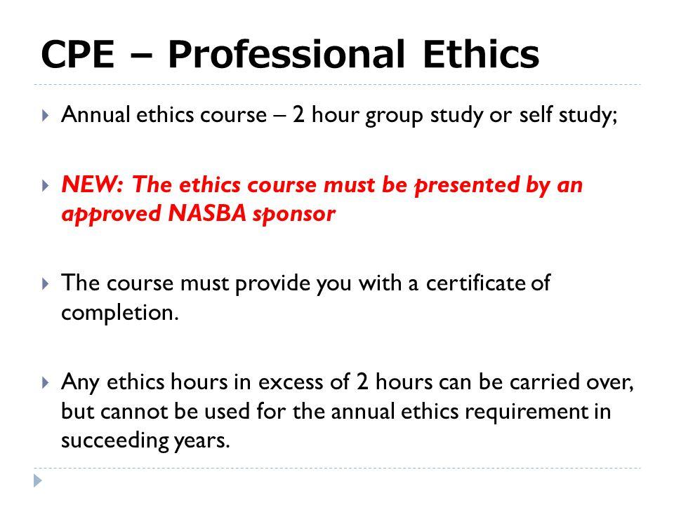 CPE – Professional Ethics