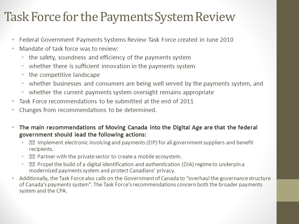 Task Force for the Payments System Review