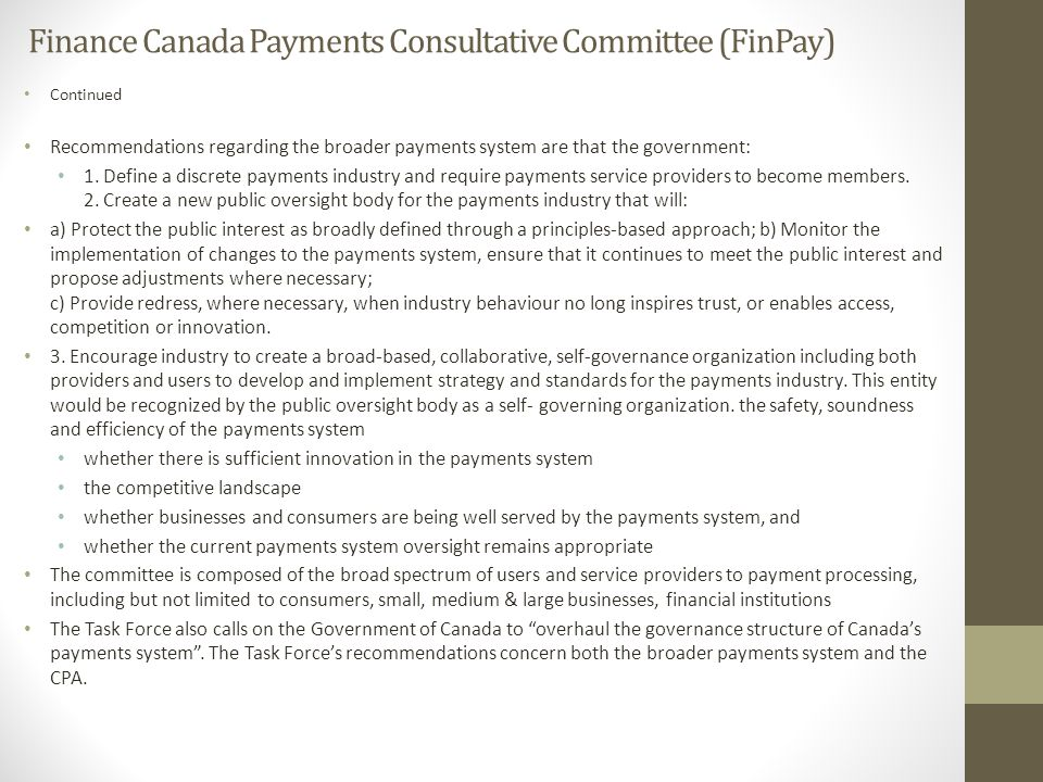 Finance Canada Payments Consultative Committee (FinPay)