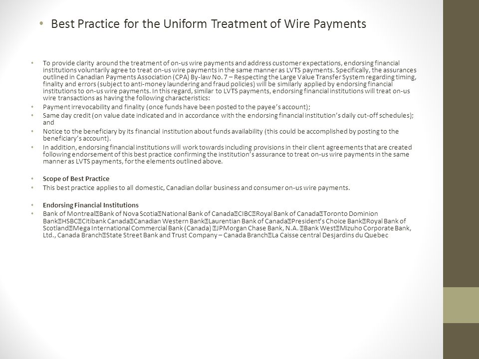 Best Practice for the Uniform Treatment of Wire Payments