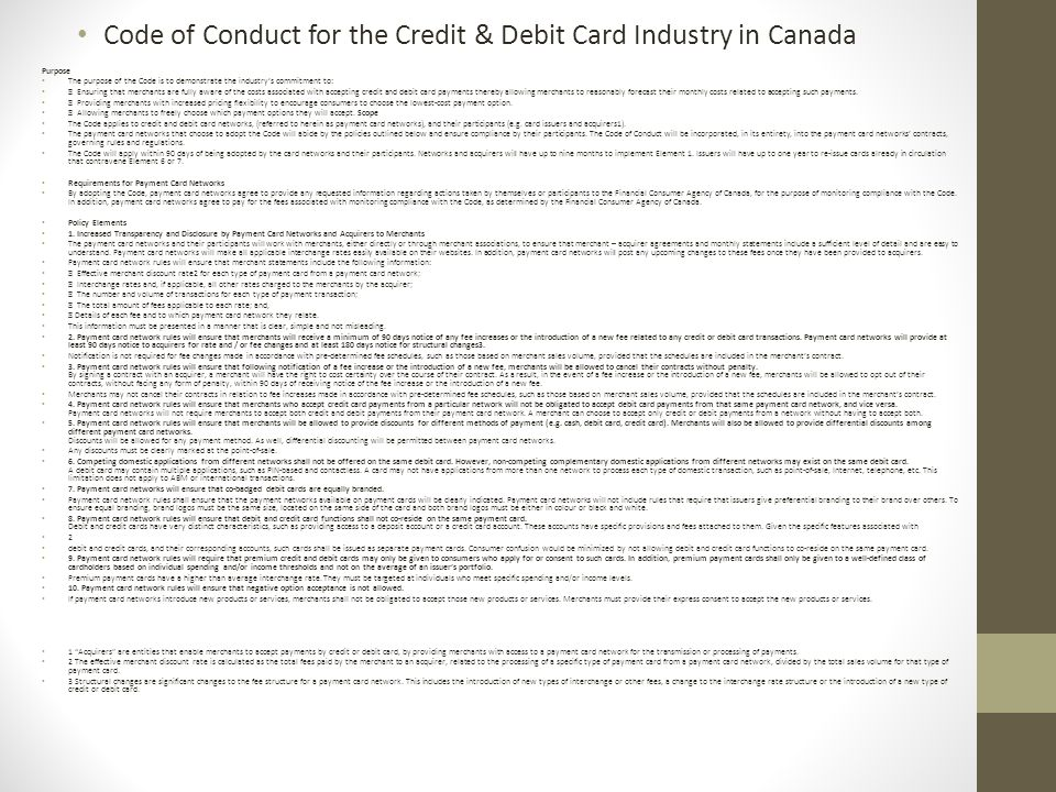 Code of Conduct for the Credit & Debit Card Industry in Canada