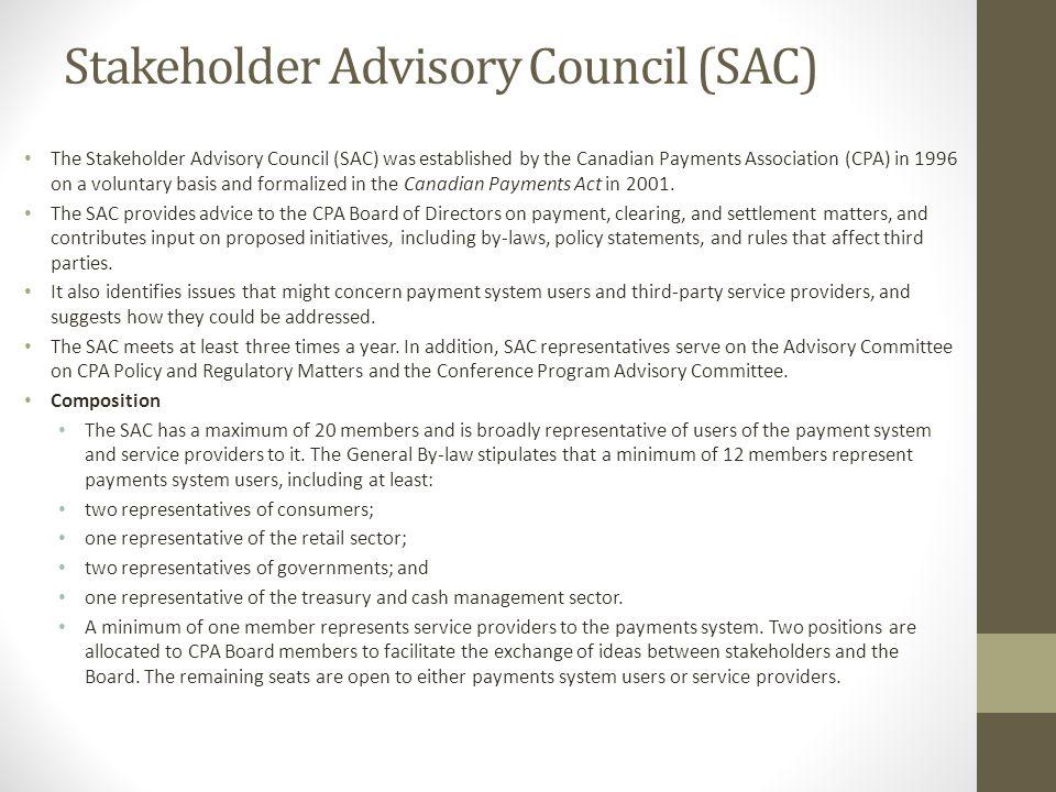 Stakeholder Advisory Council (SAC)
