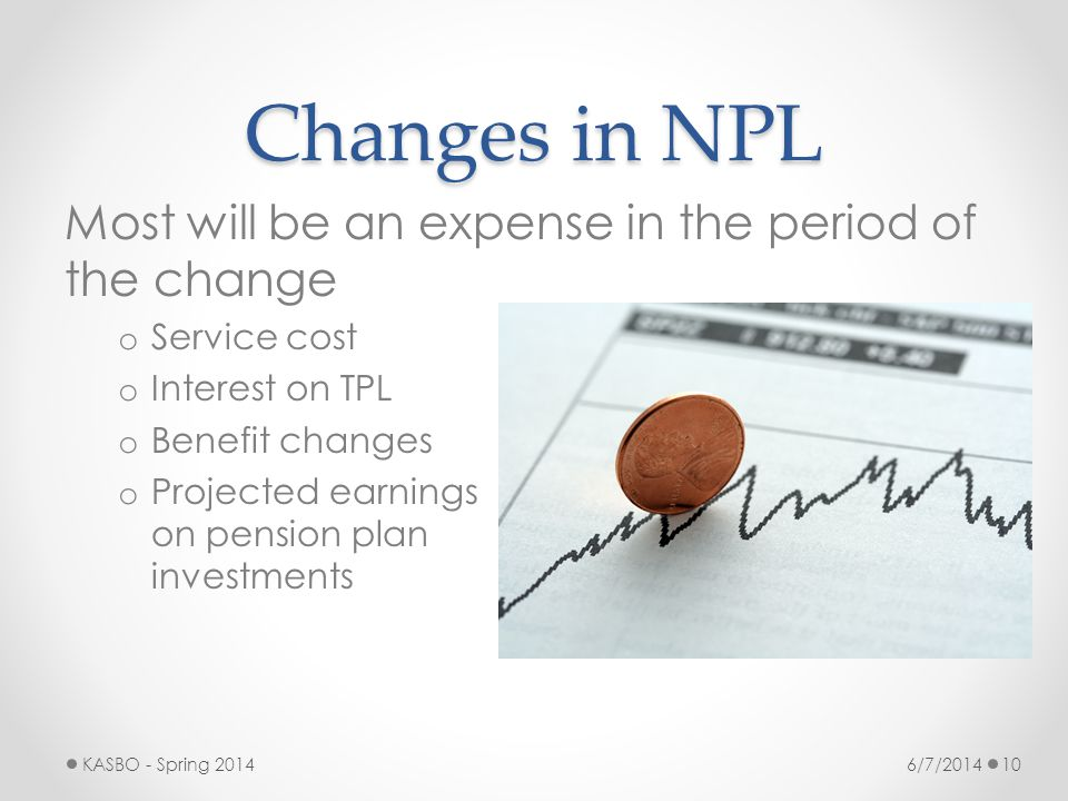 Changes in NPL Most will be an expense in the period of the change