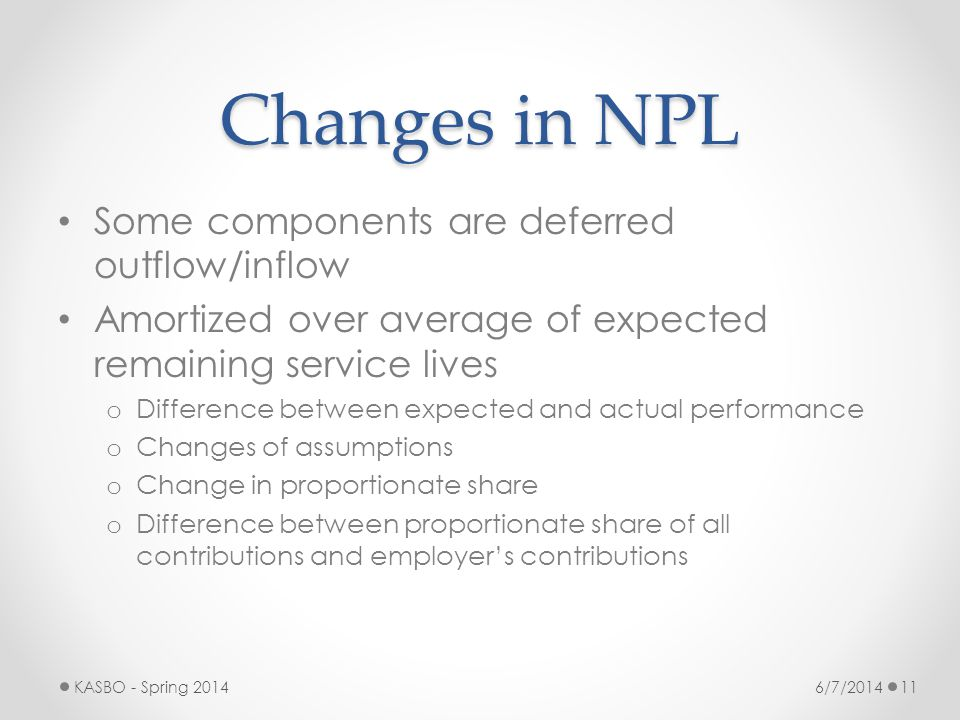 Changes in NPL Some components are deferred outflow/inflow