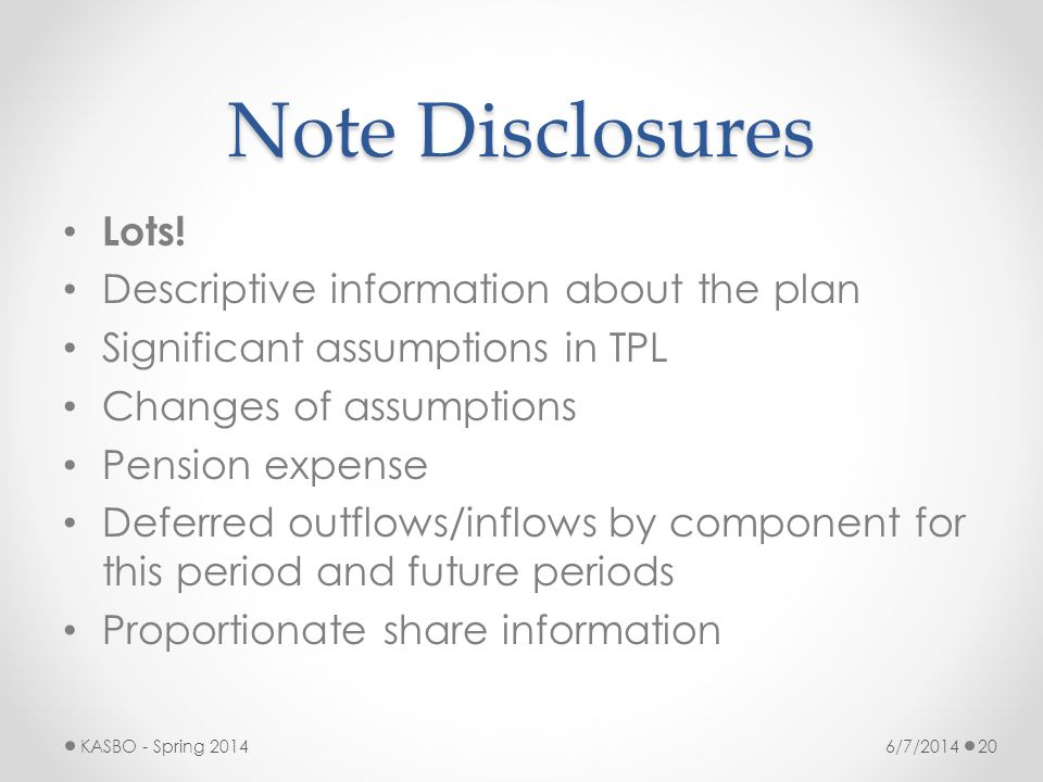 Note Disclosures Lots! Descriptive information about the plan