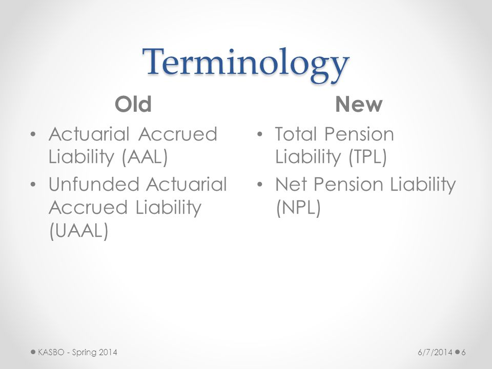Terminology Old New Actuarial Accrued Liability (AAL)