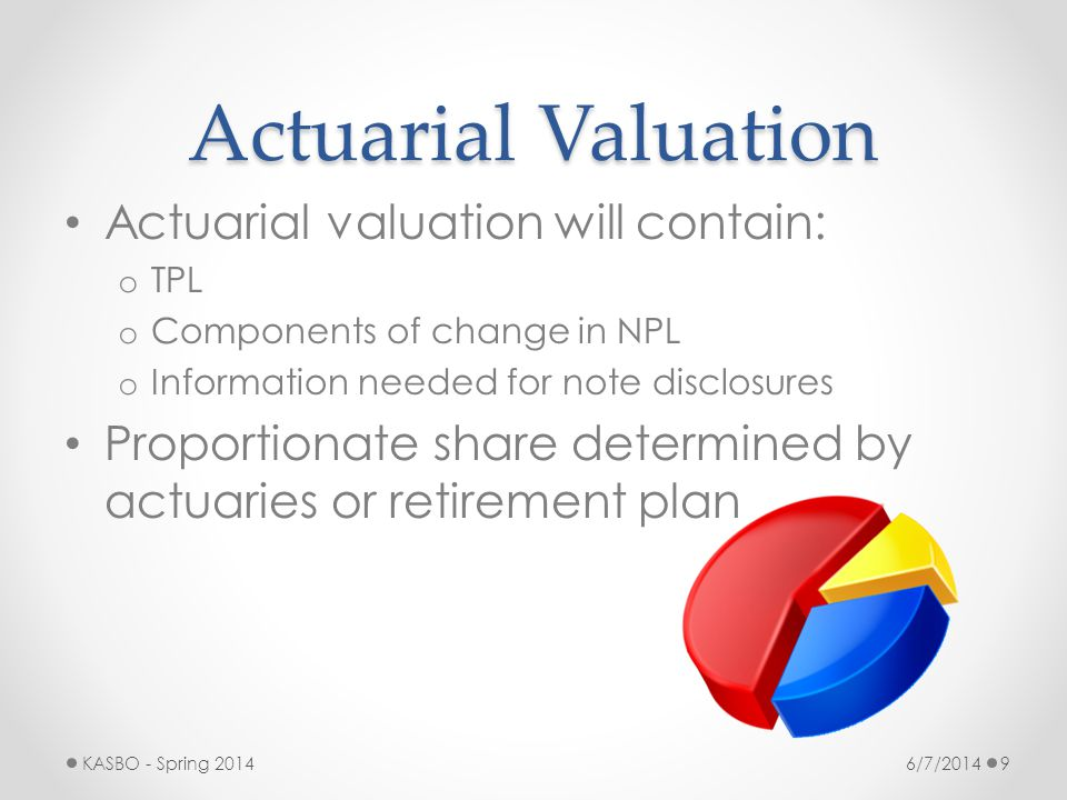 Actuarial Valuation Actuarial valuation will contain: