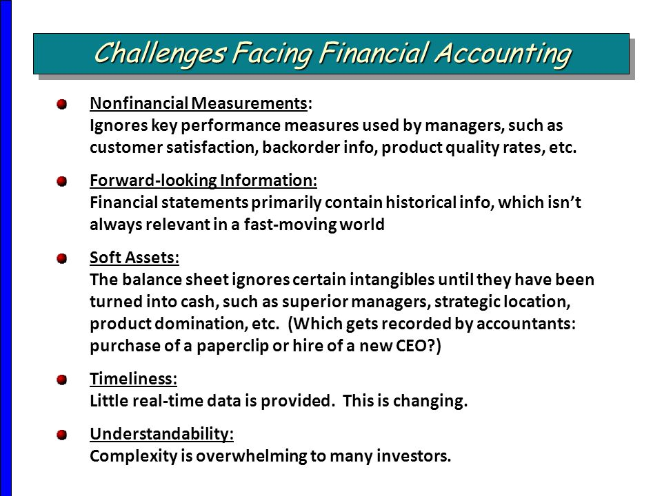 Challenges Facing Financial Accounting