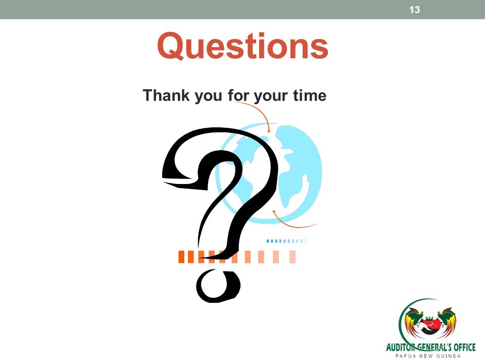 Questions Thank you for your time