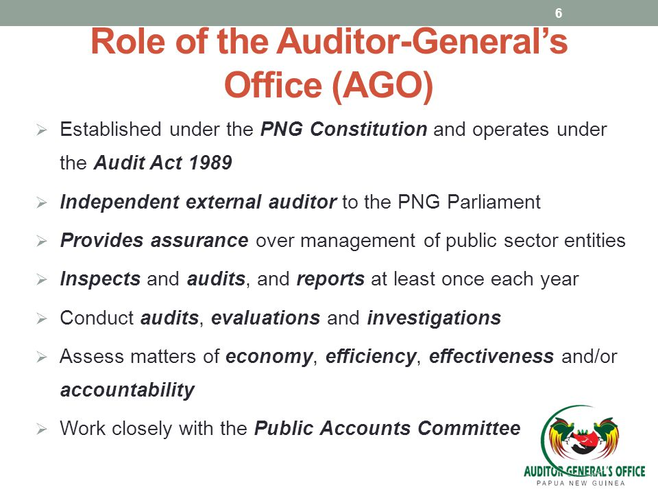 Role of the Auditor-General's Office (AGO)