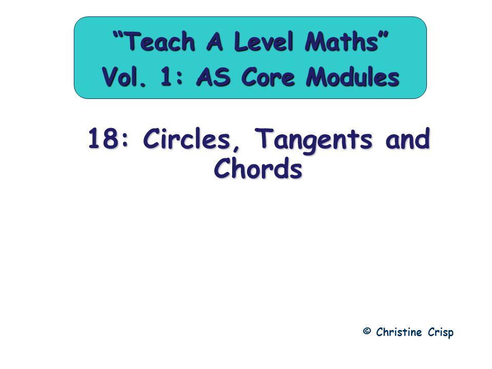 18: Circles, Tangents and Chords