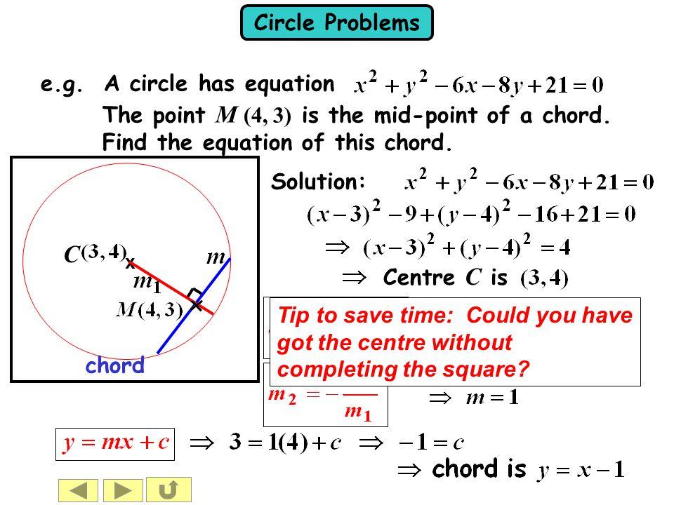 C e.g. A circle has equation