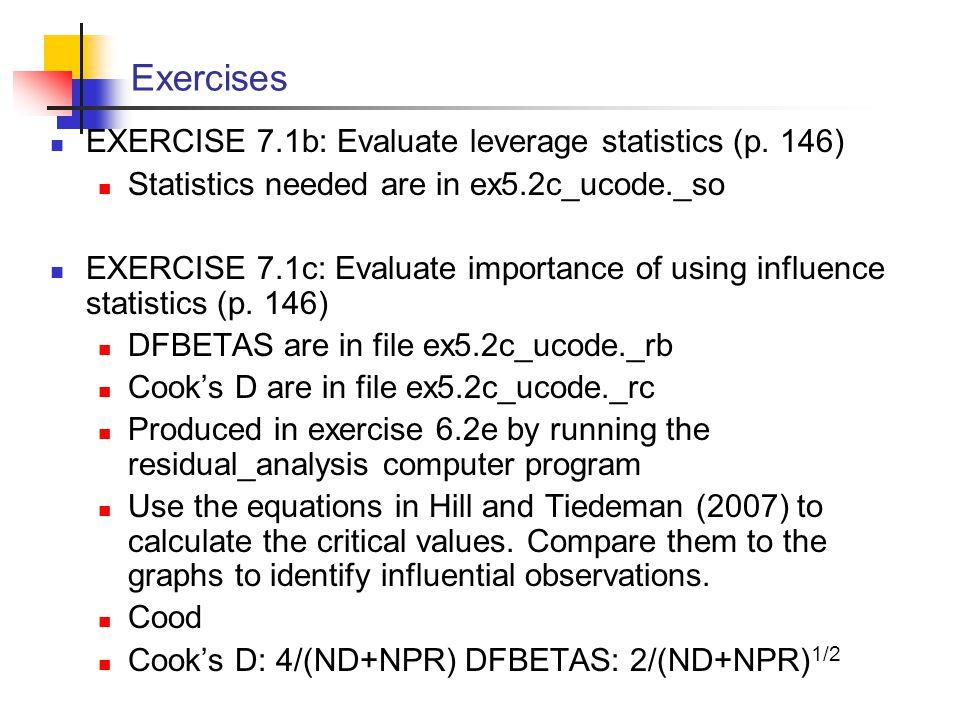 Exercises EXERCISE 7.1b: Evaluate leverage statistics (p. 146)