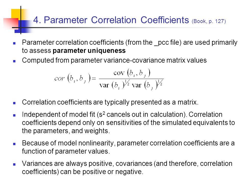 4. Parameter Correlation Coefficients (Book, p. 127)