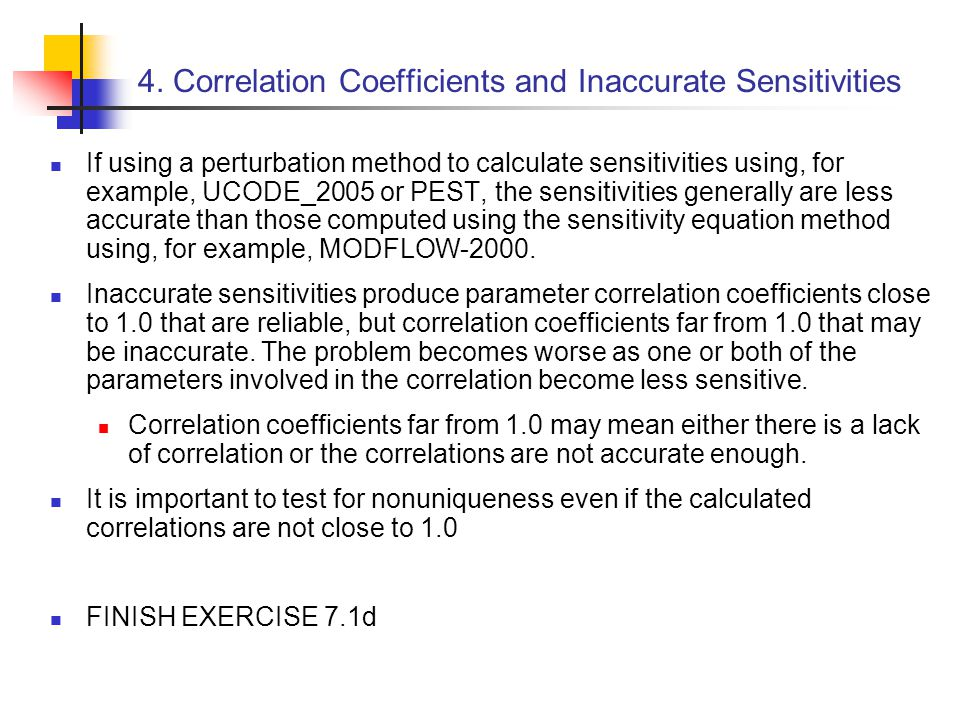 4. Correlation Coefficients and Inaccurate Sensitivities
