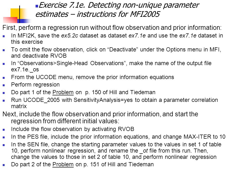 Exercise 7.1e. Detecting non-unique parameter estimates – instructions for MFI2005