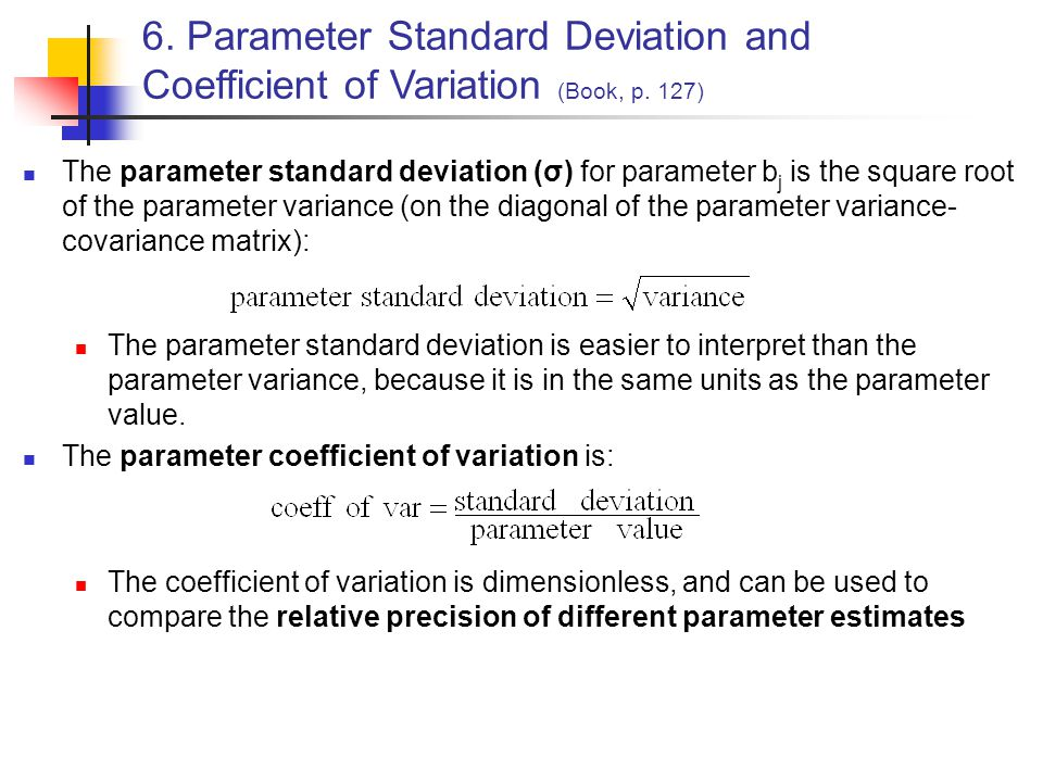 6. Parameter Standard Deviation and Coefficient of Variation (Book, p