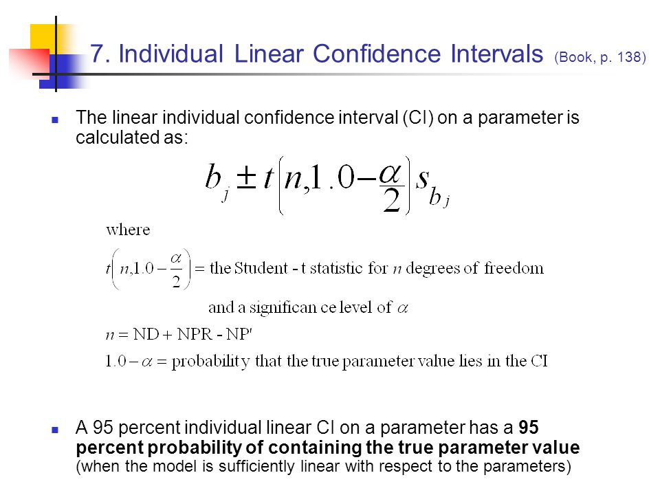 7. Individual Linear Confidence Intervals (Book, p. 138)