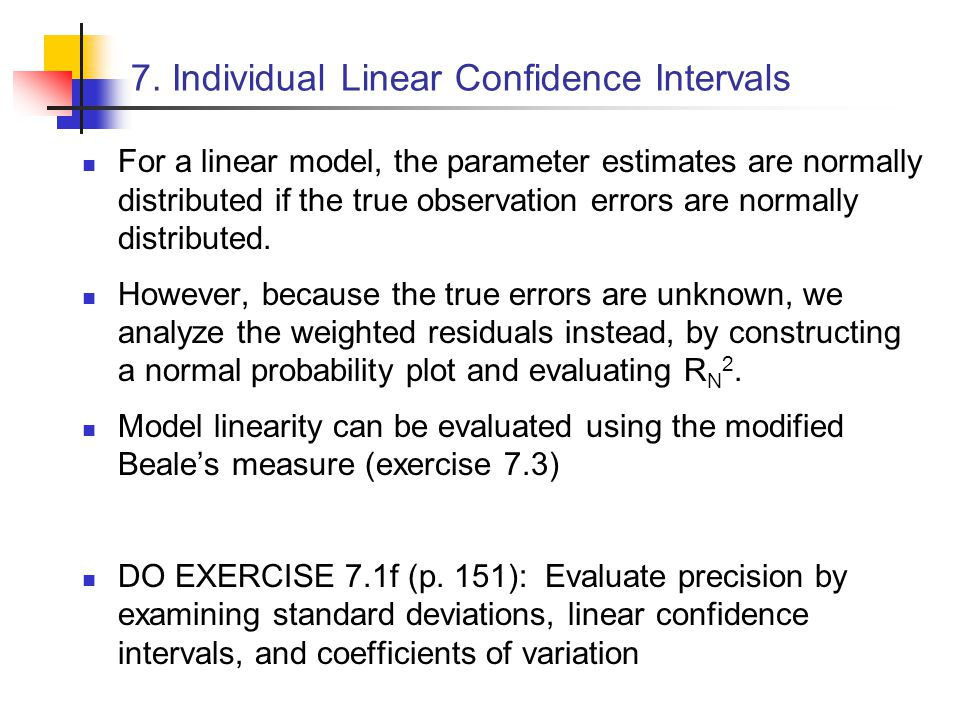 7. Individual Linear Confidence Intervals