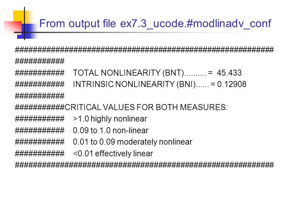 From output file ex7.3_ucode.#modlinadv_conf