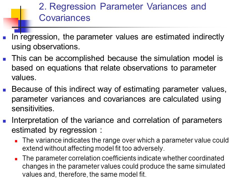 2. Regression Parameter Variances and Covariances