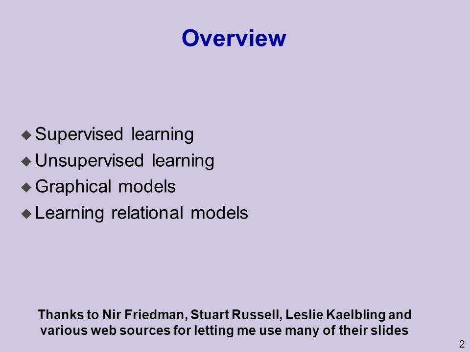 Overview Supervised learning Unsupervised learning Graphical models