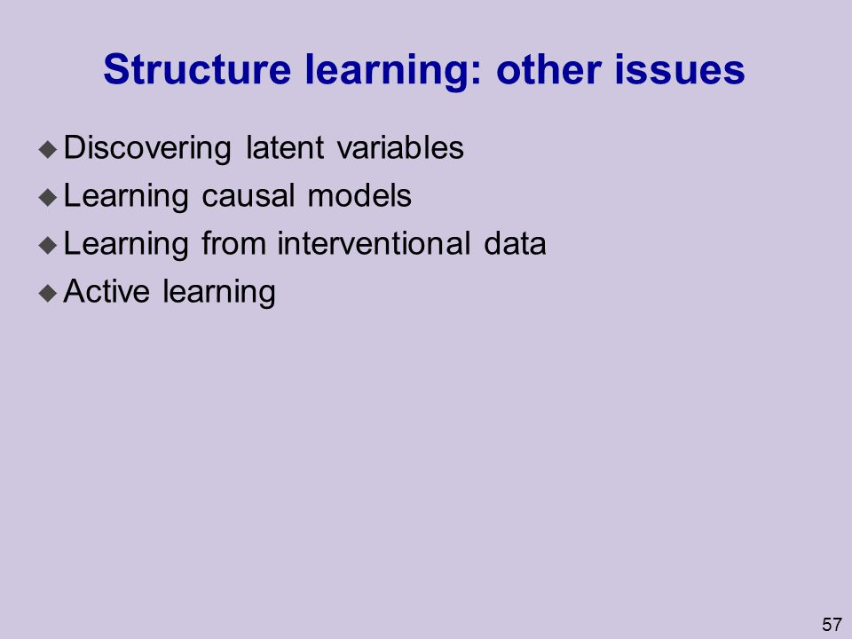 Structure learning: other issues