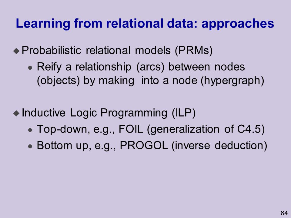 Learning from relational data: approaches
